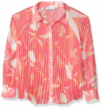 MILLY Womens Washed Linen Striped Button Down Western Cropped Shirt