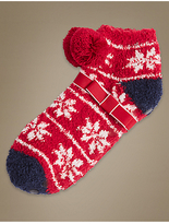 M&S Collection Pom Pom Fairisle Print Slipper Socks