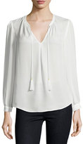 Joie Calla Long-Sleeve Tassel-Tie Top, Porcelain