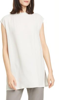 Eileen Fisher Funnel Neck Silk Box Top Tunic