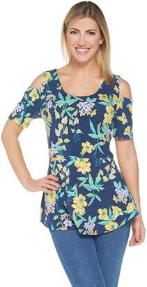 Isaac Mizrahi Live! Tropical Floral Cold Shoulder Peplum Tunic