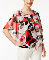 Alfred Dunner Petite Floral-Print Blouse & Necklace