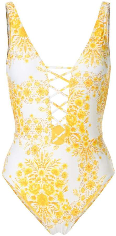 sunflower lace up one piece swimsuit