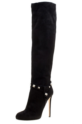 Le Silla Enio Silla For Black Suede Crystal Embellished Pyramid Studs Knee Length Boots Size 40