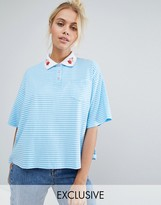 Lazy Oaf Exclusive Stripe Boxy Polo Top With Hearts