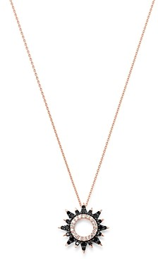 Bloomingdale's Black & White Diamond Starburst Necklace in 14K Rose Gold, 0.25 ct. t.w. - 100% Exclusive
