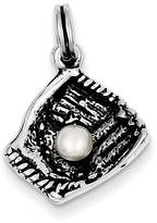 goldia Sterling Silver Baseball Glove W/syn. Simulated Pearl Charm