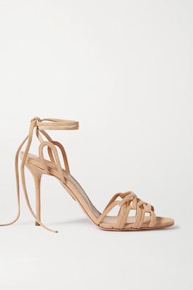 Aquazzura Azur 95 Suede Sandals - Neutral