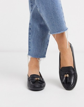 Dune gaze leather tassel loafer flat shoes in black