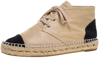 Chanel Beige Leather And Black Canvas Cap Toe High Top Espadrille Flats Size 36