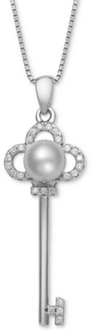"""Belle de Mer Cultured Freshwater Pearl (6mm) & Cubic Zirconia Clover Key 18"""" Pendant Necklace in Sterling Silver"""