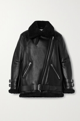Acne Studios - Leather-trimmed Shearling Jacket - Black