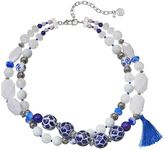 Dana Buchman White & Blue Beaded Double Strand Necklace