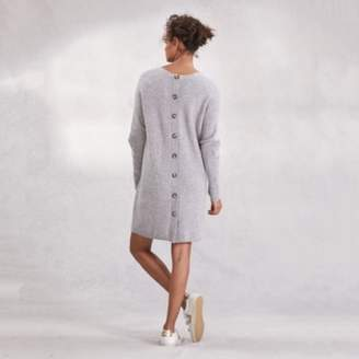 The White Company Button Back Dress With Wool , Mid Grey Marl, 8
