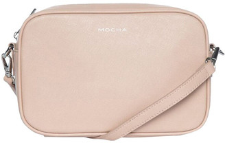 Mocha Joan Box Leather Crossbody Bag - Nude