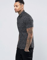 Asos Skinny Shirt In Black With Paint Splatter Print And Short Sleeves