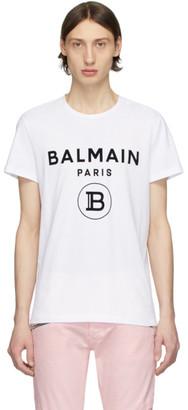 Balmain White Flocked Logo T-Shirt