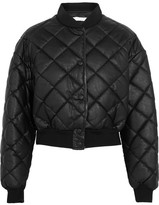 Stella McCartney Marisa Cropped Quilted Faux Leather Bomber Jacket - Black