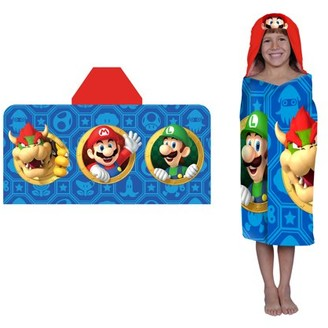 Super Mario Bros. Super Mario Kids Hooded Bath Towel Wrap, Jump & Go, 1 Each