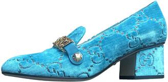 Gucci Turquoise Velvet Flats