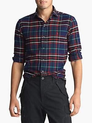 Ralph Lauren Polo Custom Fit Spread Estate Collar Check Flannel Shirt, Crown Royal/Blanc