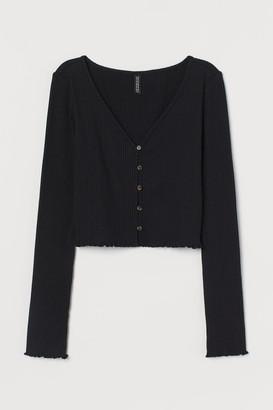 H&M Ribbed Jersey Cardigan - Black
