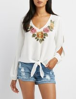 Charlotte Russe Floral Patch Split Sleeve Top
