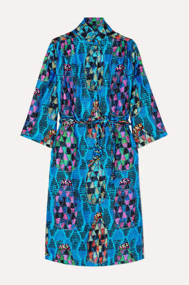 Joseph A Rianna + Nina RIANNA NINA - Josepha Tie-front Printed Silk-satin Midi Dress - Turquoise
