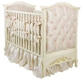 The Well Appointed House Designer French Panel Upholstered Crib with Gold Gilding