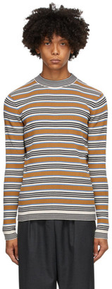 Marni Beige and Blue Striped Mock Neck Sweater