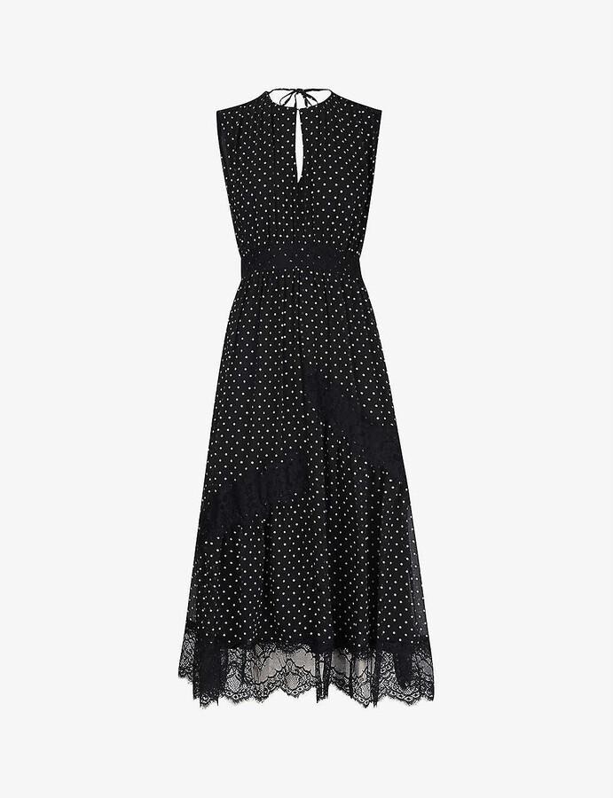 Whistles Polka dot-print lace-panel crepe midi dress