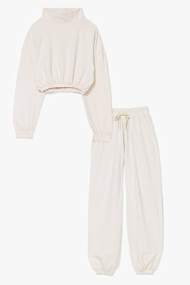 Nasty Gal Womens You and I Hoodie and Joggers Lounge Set - Ecru
