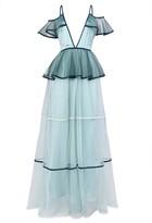 True Decadence Sea Foam Green Tiered Tulle Maxi Dress