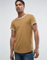 Esprit Longline T-shirt With Double Hem And Curve Bottom