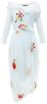 Simone Rocha Sacred Heart-embroidered Draped-tulle Dress - Light Blue