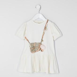 River Island Mini girls Cream bag printed T-shirt dress