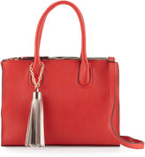 Neiman Marcus Saffiano Faux-Leather Tassel Tote Bag, Red