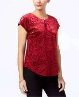NY Collection Petite Jacquard Rose-Print Top