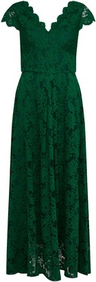 Wallis **Jolie Moi Green V Neck Lace Maxi Dress