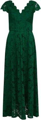 Wallis **Jolie Moi Green V Neck Lace Maxi Dress