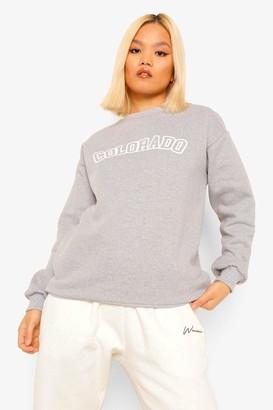 boohoo Petite 'Colorado' City Slogan Sweatshirt