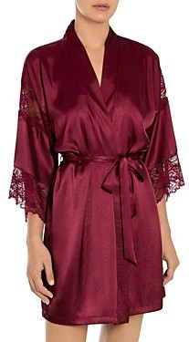 Jonquil Lace Trim Satin Wrap Robe