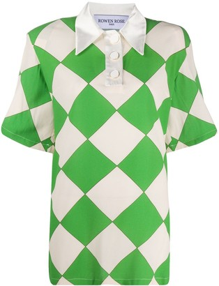 ROWEN ROSE Loose Fit Argyle Print Shirt