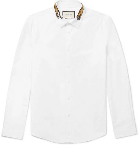 Gucci Slim-Fit Tiger-Appliquéd Cotton-Poplin Shirt