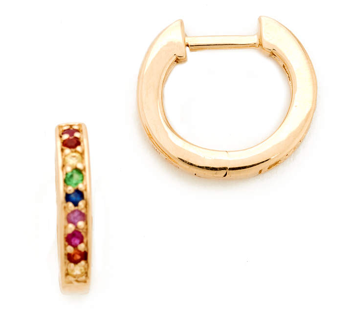 Sydney Evan 14k Gold Small Rainbow Huggie Hoop Earrings