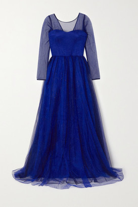 Rasario Glittered Tulle Gown - Blue