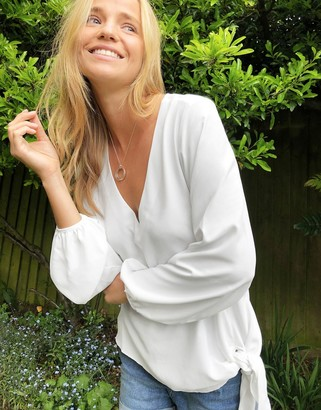 ASOS DESIGN long sleeve blouse with knot front in white