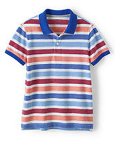 Classic Boys Husky Oxford Stripe Mesh Polo-Gray Heather Panda