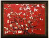 Branches of an Almond Tree in Blossom, Ruby Red with Veine D'Or Bronze Scoop Frame
