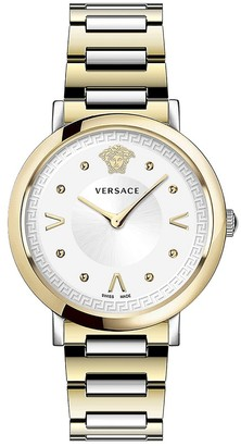 Versace Pop Chic Lady Two-Tone IP Gold Stainless Steel Analog Bracelet Strap Watch